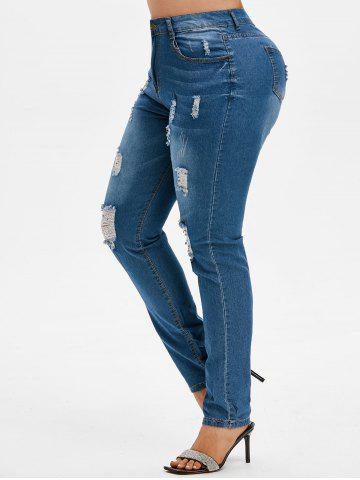 Ripped High Waisted Plus Size Skinny Jeans - BLUE - M