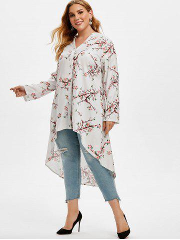 Plus Size Roll Up Sleeve Peach Blossom Print High Low Top
