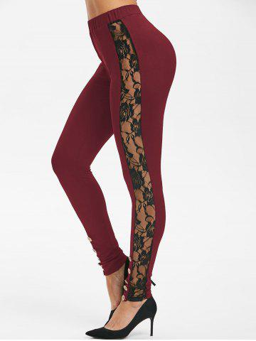 Flower Lace Insert Button Embellished Skinny Leggings - DEEP RED - S