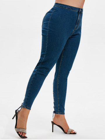 Plus Size Lace Up High Rise Jeans - DEEP BLUE - L