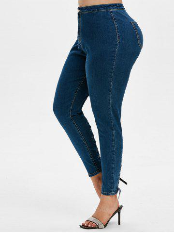 Plus Size Lace Up High Rise Jeans