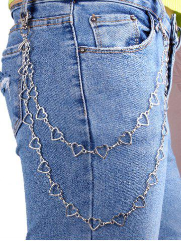 Heart Shape Hollow Layered Trousers Chain - SILVER