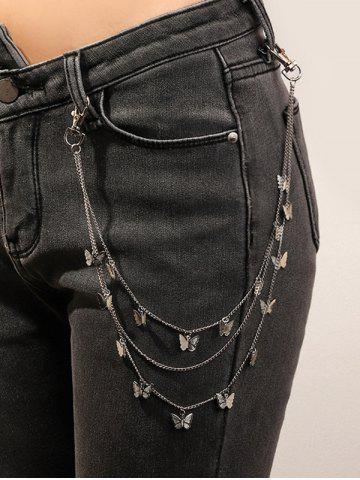 Butterfly Pendant Multilayered Trousers Chain - SILVER