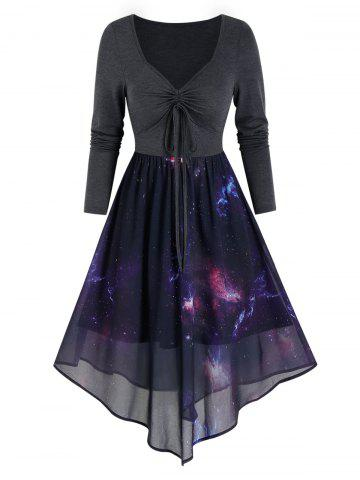 Front Drawstring Starry Print Overlay Mesh Dress