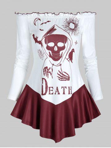 Halloween Death Print Off The Shoulder T-shirt - RED WINE - 3XL