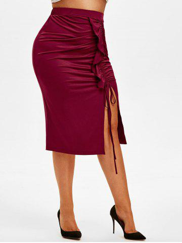 Plus Size Cinched Ruffle Slit Midi Skirt - RED WINE - 2X