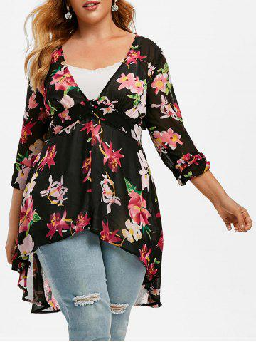 Plus Size High Low Floral Blouse and Tank Top Set - BLACK - L