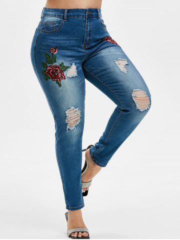 Plus Size Embroidered Ripped Jeans - DEEP BLUE - 3X