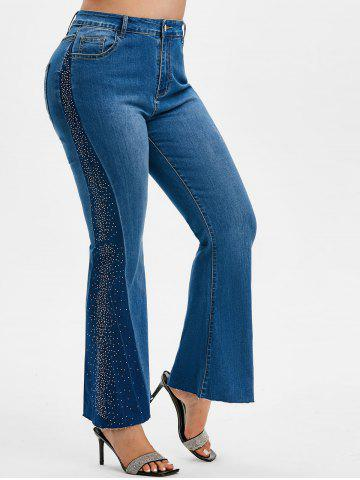 Plus Size Rhinestone Bicolor Bell Bottom Jeans - DEEP BLUE - L