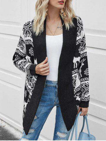 Christmas Elk Graphic Open Front Cardigan