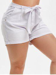 Tie Waist Cuffed Hem Plus Size Denim Shorts -