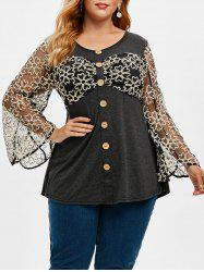 Plus Size Heathered Floral Mesh Buttons T Shirt -