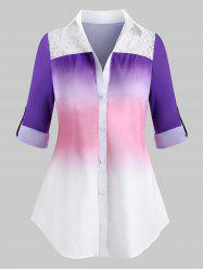 Plus Size Ombre Embroidery Panel Roll Sleeve Tunic Shirt -
