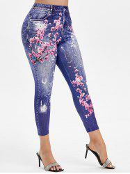 Plus Size Peach Blossom Print Ninth Jeggings -