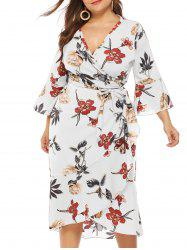 Plus Size Plunge Bell Sleeve Floral Print Wrap Dress -