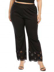 Plus Size Laser Cut Bootcut Pants -