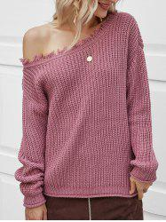 Skew Neck Ripped Chunky Sweater -