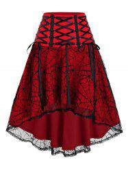 Halloween Spider Web Lace High Low Skirt -