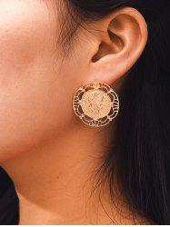 Hollow Out Coin Stud Earrings -