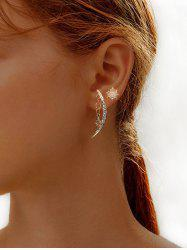 Rhinestone Crescent Star Shape Stud Earrings -