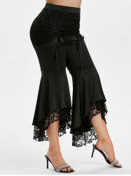 Plus Size High Rise Lace Insert Bell Bottom Pants -