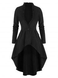 One Button Lace-up Skirted Coat -