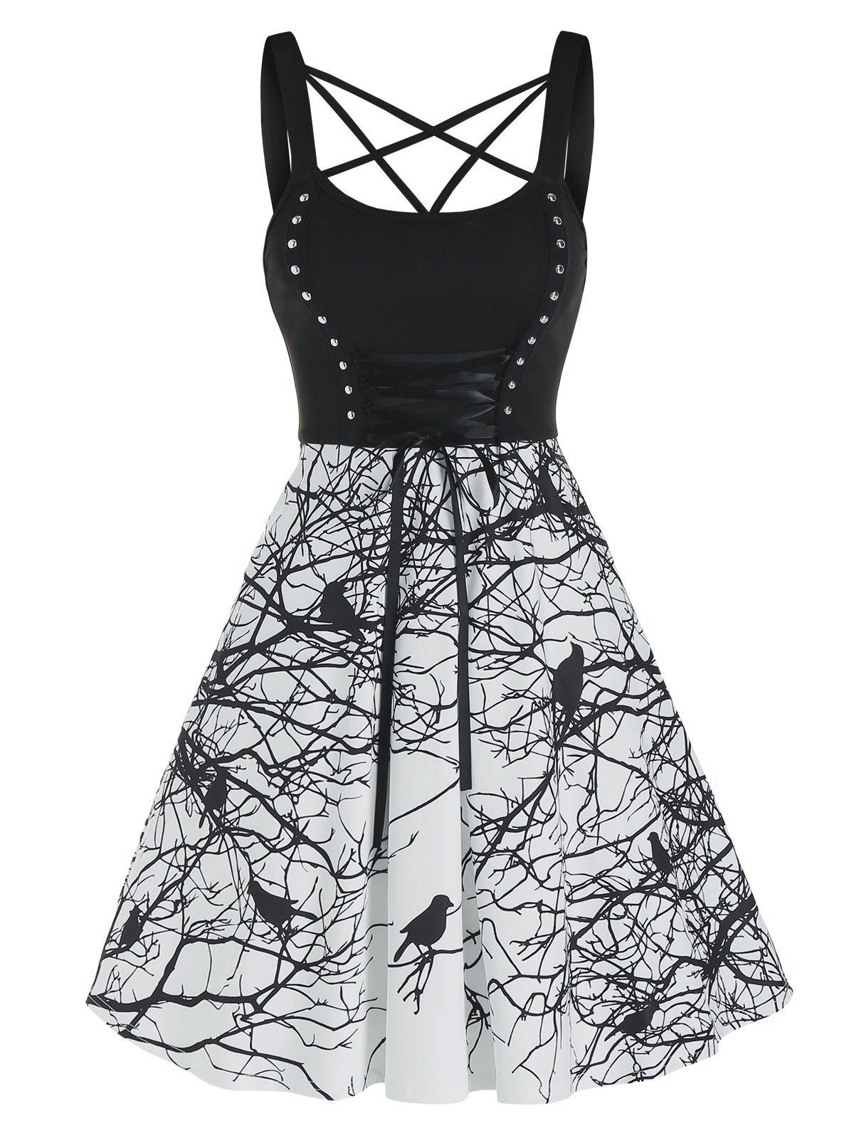 Outfits Strappy Bird Print Lace Up Cami Mini Dress