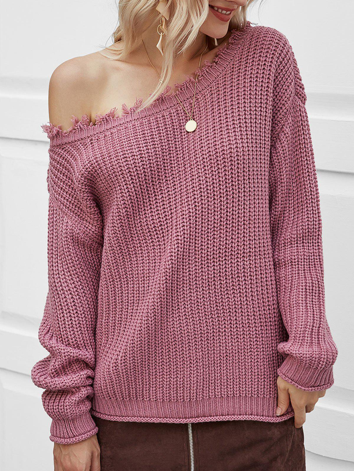 Discount Skew Neck Ripped Chunky Sweater