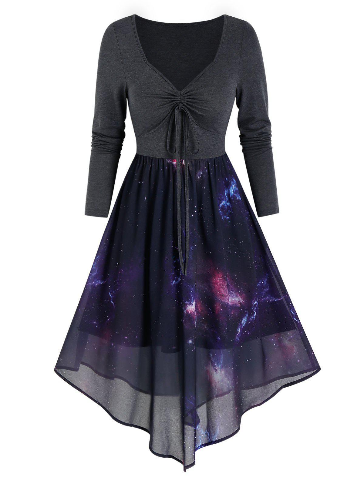 Outfit Front Drawstring Starry Print Overlay Mesh Dress