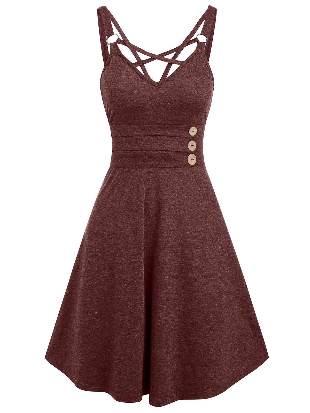 Strappy Open Back Mock Button Casual Dress