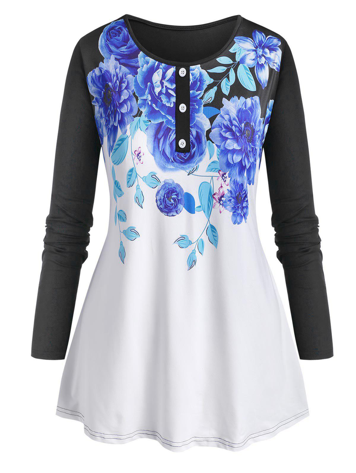 Best Plus Size Floral Print Tunic Tee