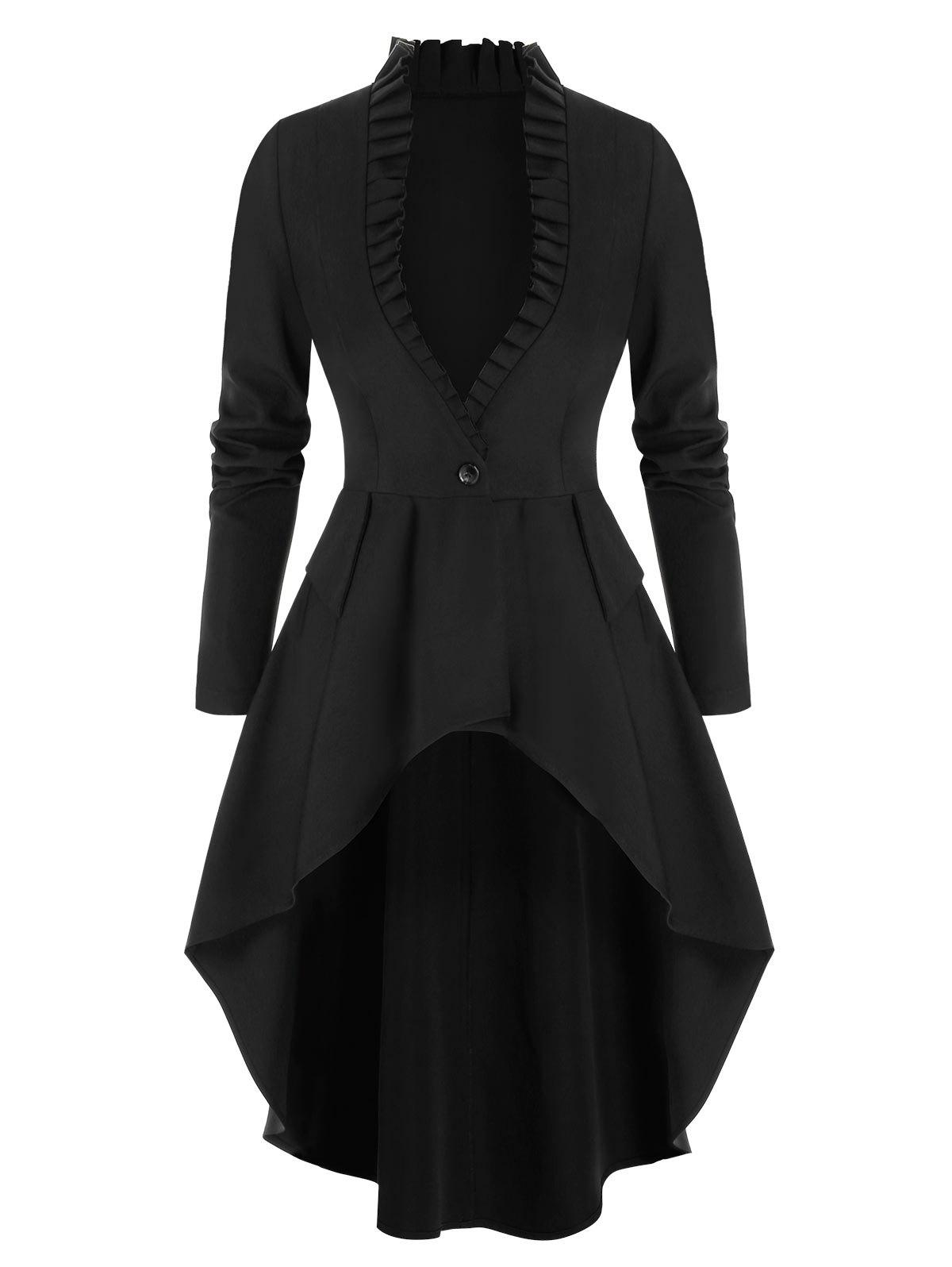 Unique One Button Lace-up Skirted Coat