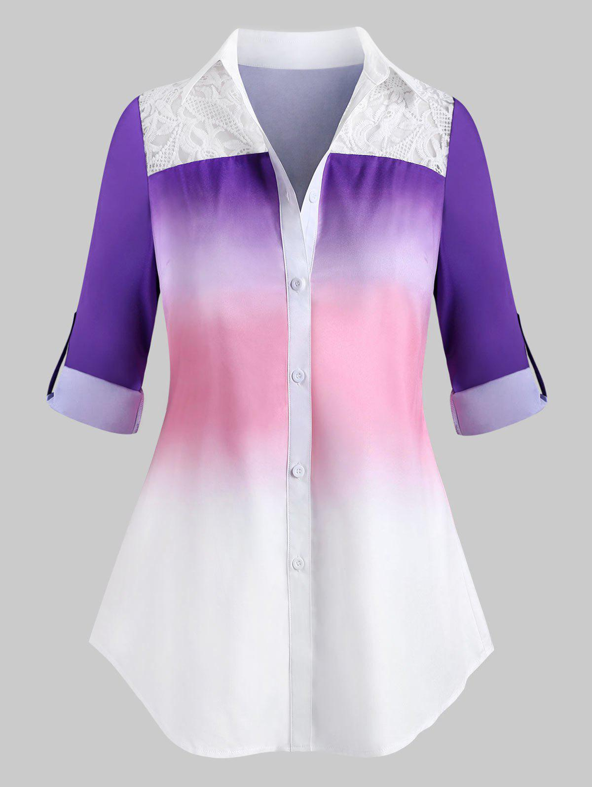 Cheap Plus Size Ombre Embroidery Panel Roll Sleeve Tunic Shirt
