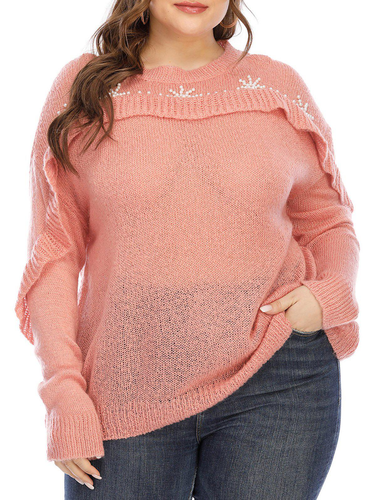Affordable Plus Size Ruffled Beaded Sweater