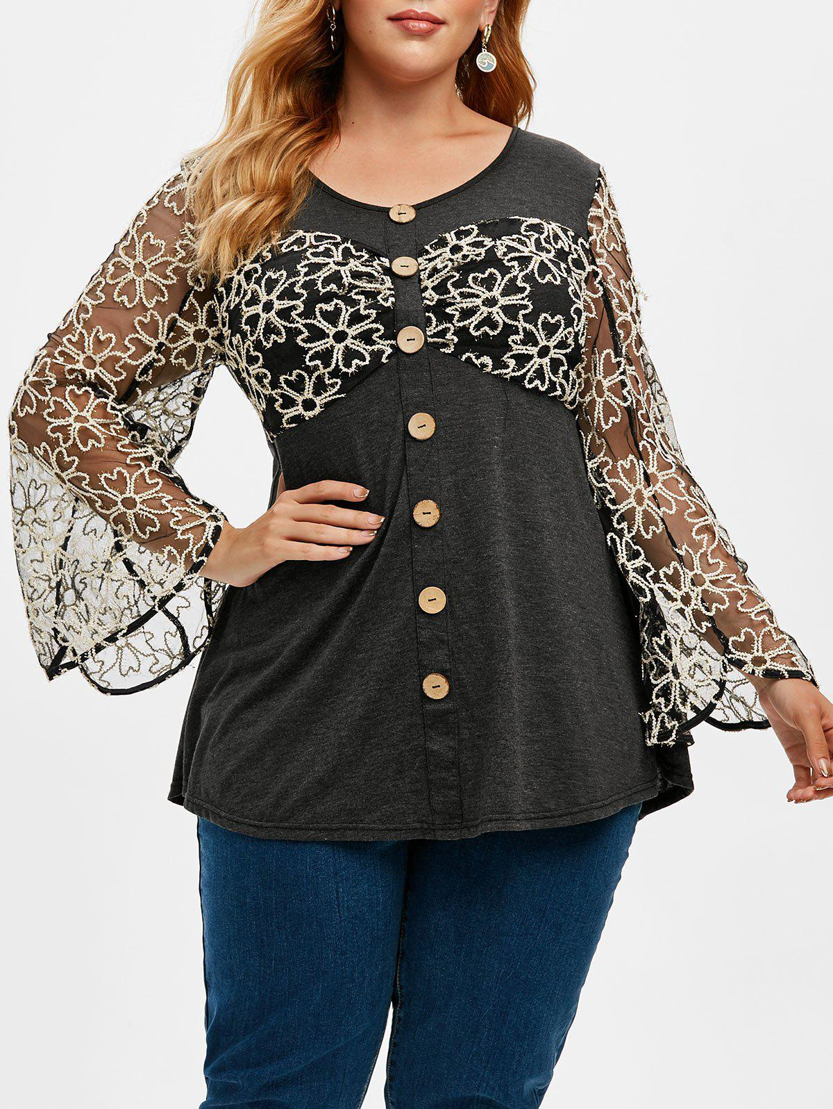 Plus Size Heathered Floral Mesh Buttons T Shirt фото
