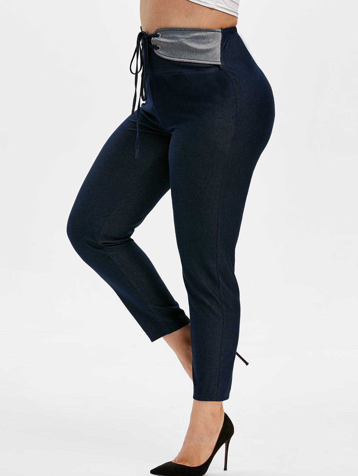 New Plus Size High Rise Lace Up Leggings