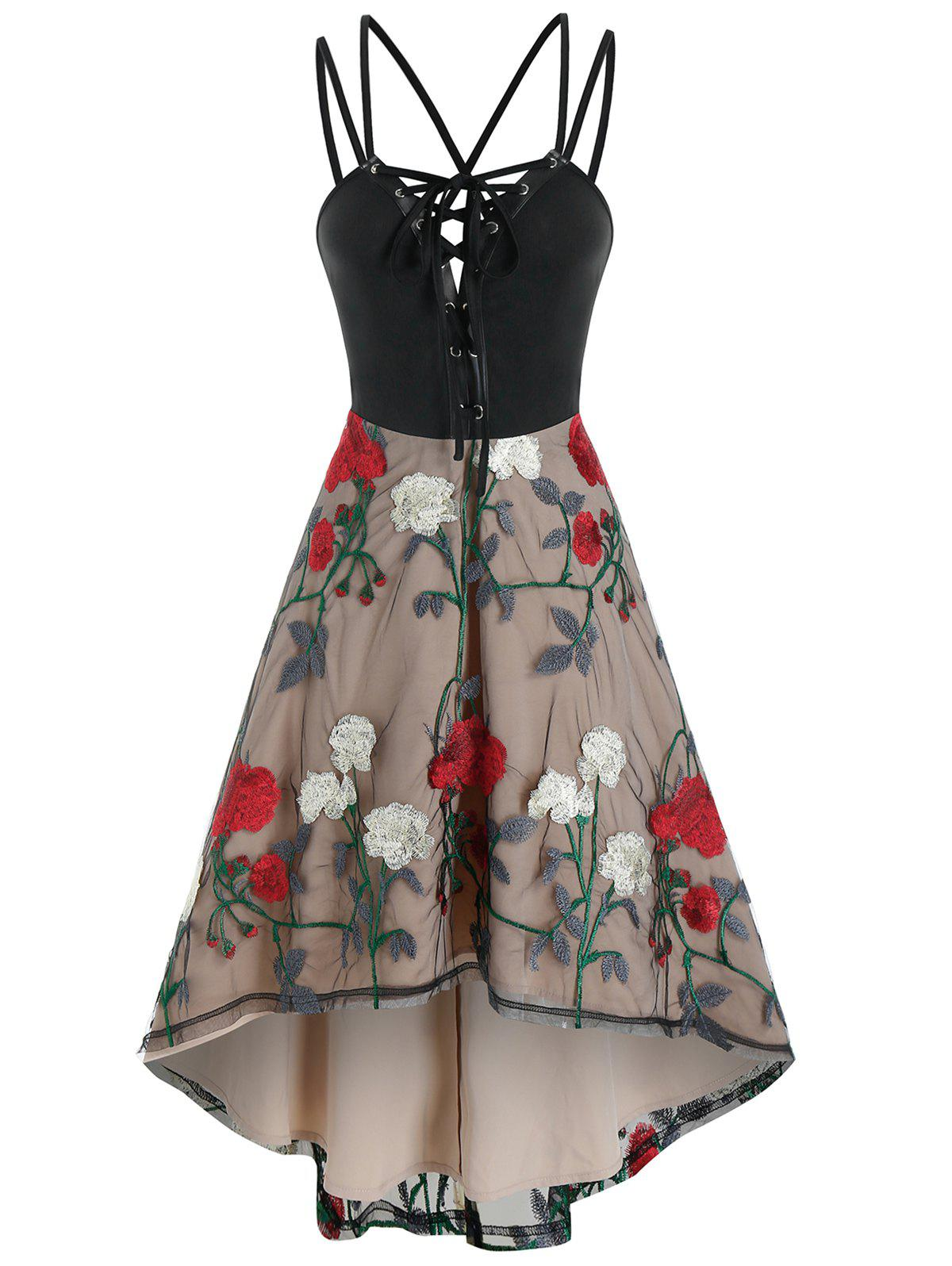 Latest Lace Up Cami High Waist Floral Lace Dress