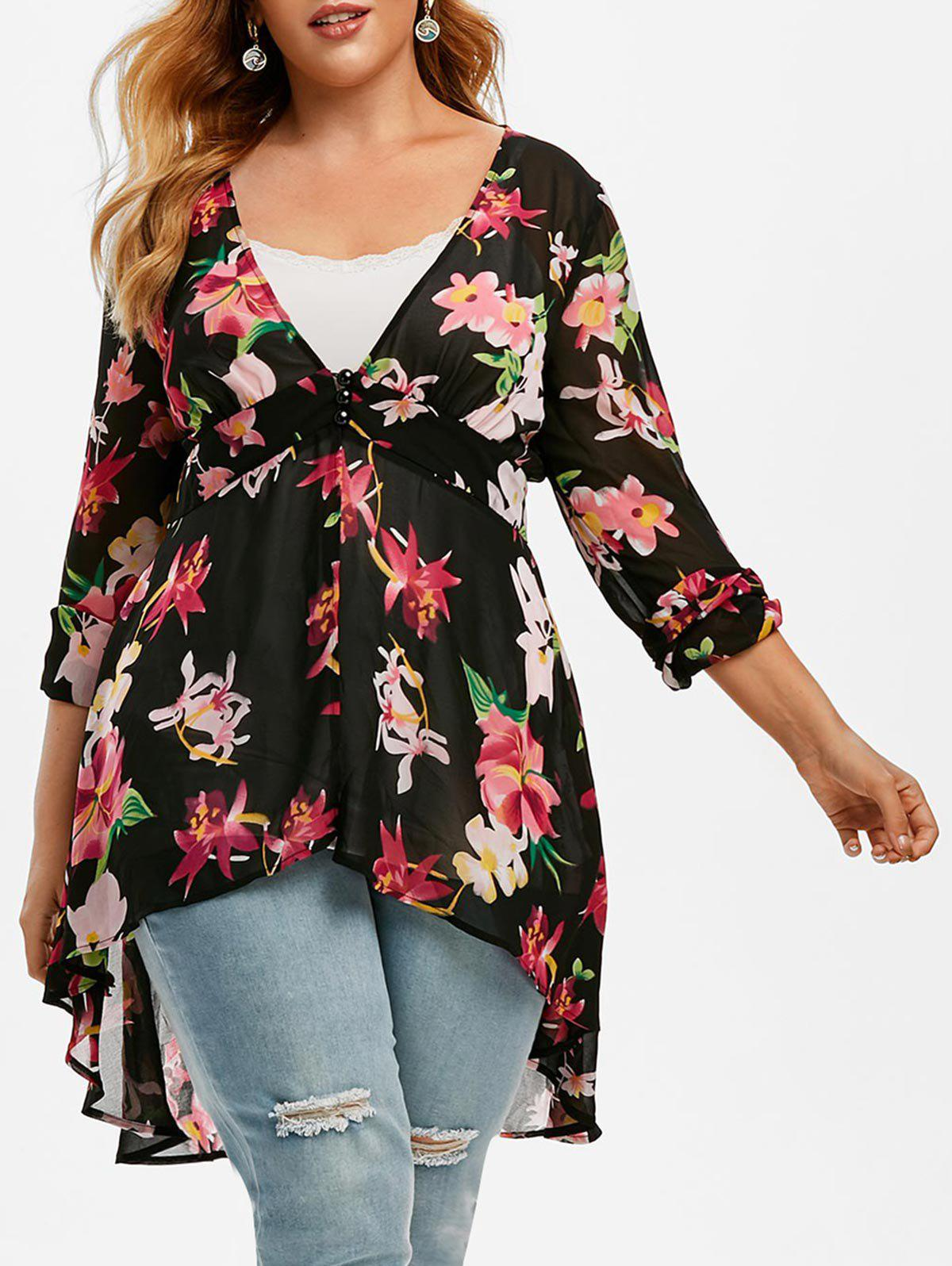 Hot Plus Size High Low Floral Blouse and Tank Top Set