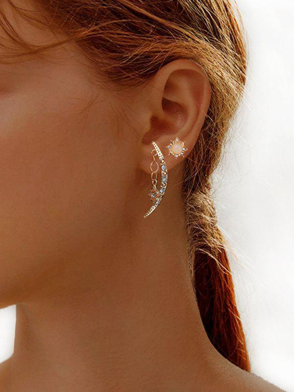 Outfit Rhinestone Crescent Star Shape Stud Earrings