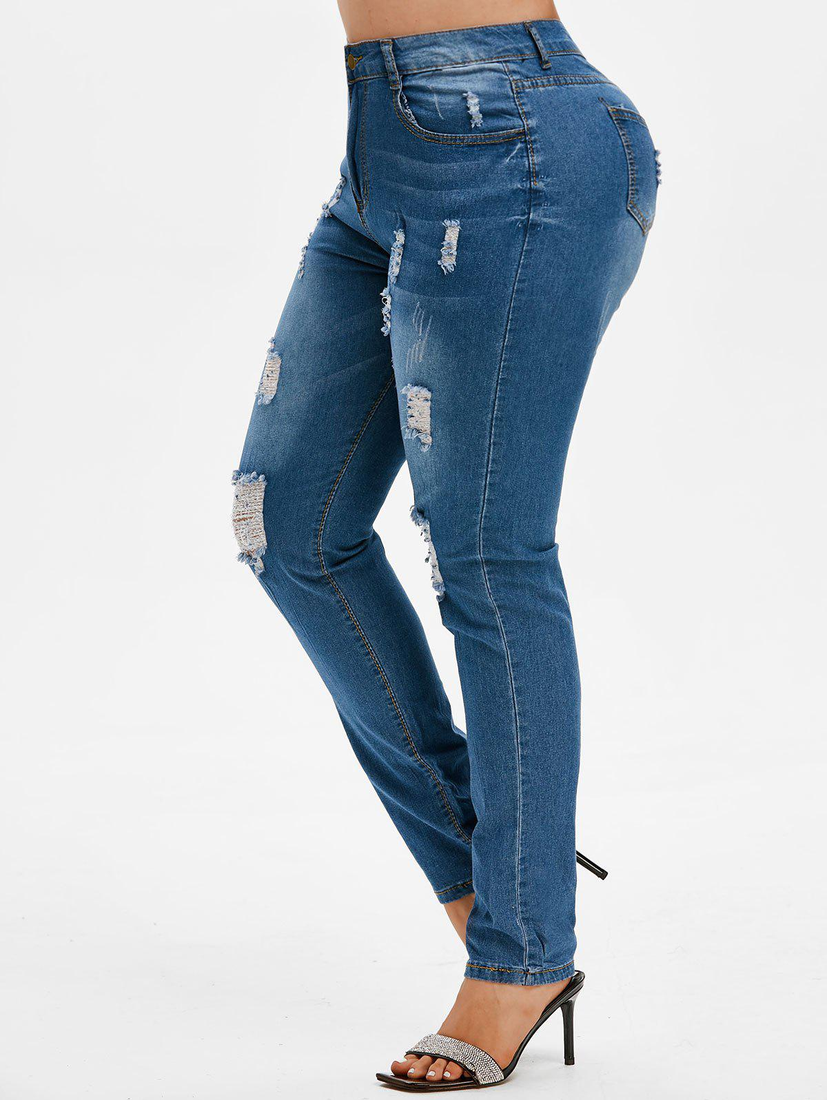 Sale Ripped High Waisted Plus Size Skinny Jeans