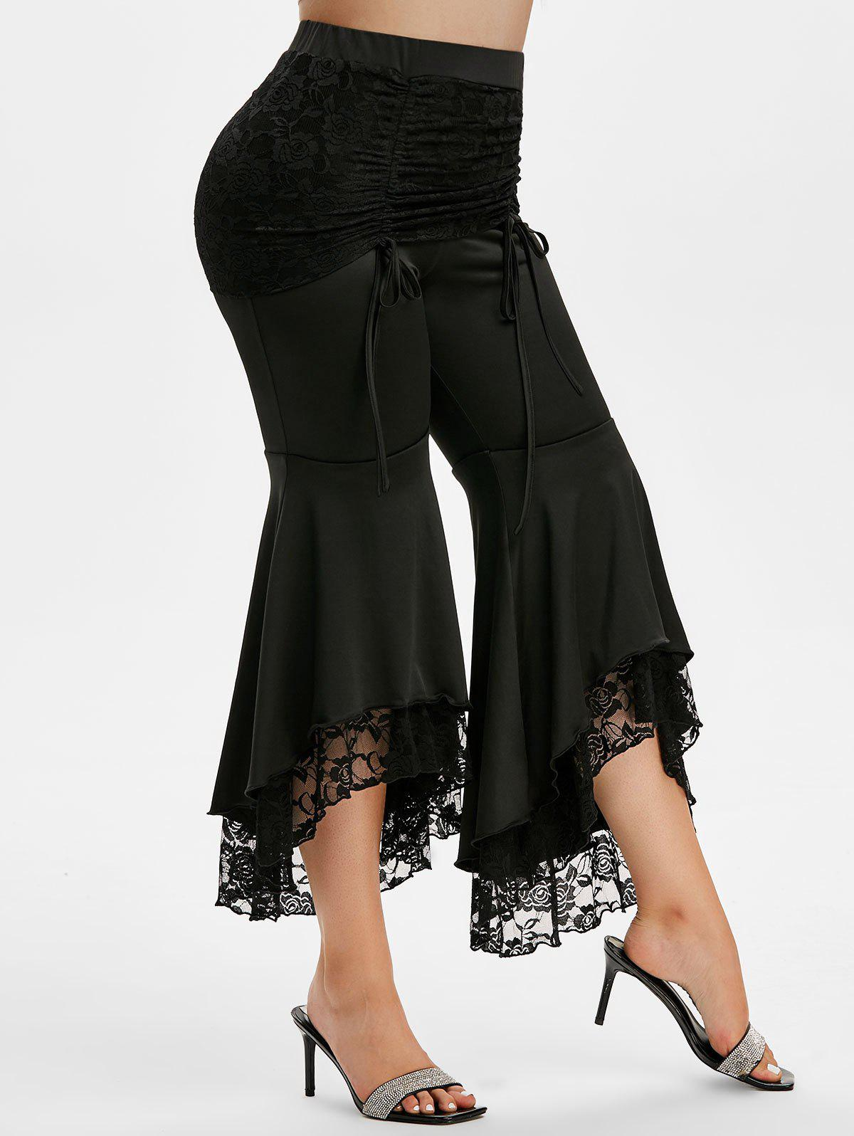 Sale Plus Size High Rise Lace Insert Bell Bottom Pants