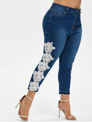 Plus Size High Rise Contrast Lace Ninth Jeans - DEEP BLUE - 3X