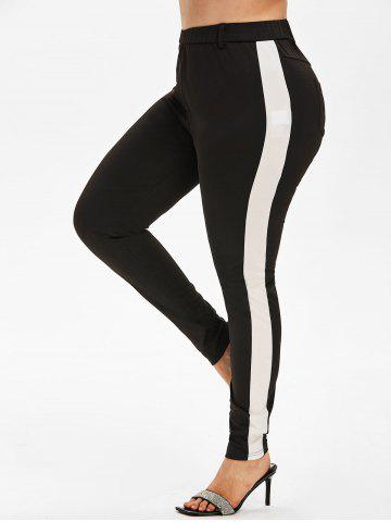 Plus Size High Rise Contrast Trim Fitted Pants