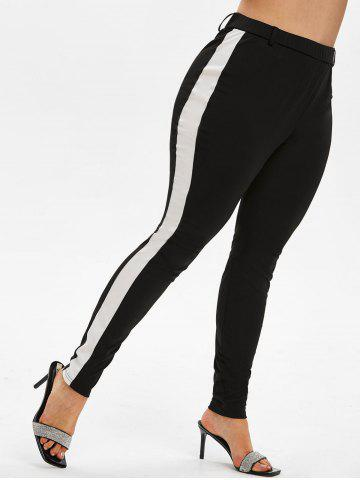 Plus Size High Rise Contrast Trim Fitted Pants - BLACK - 1X