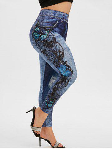 Plus Size 3D Ripped Jean Butterfly Jeggings - BLACK - 4X