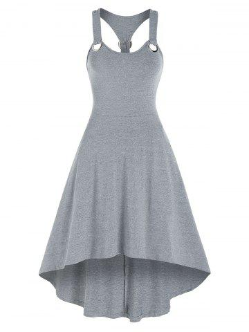 Solid Color Grommet Cami High Low Dress