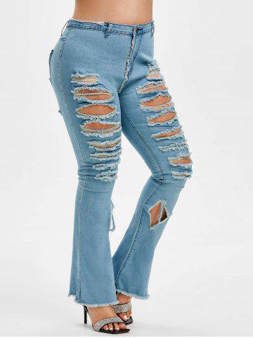 Destroyed High Waisted Plus Size Flare Jeans