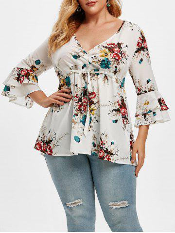 Plus Size Floral Print Drawstring Bell Sleeve Top - WHITE - 2X