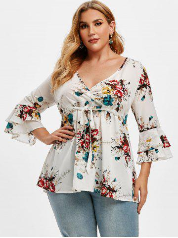 Plus Size Floral Print Drawstring Bell Sleeve Top