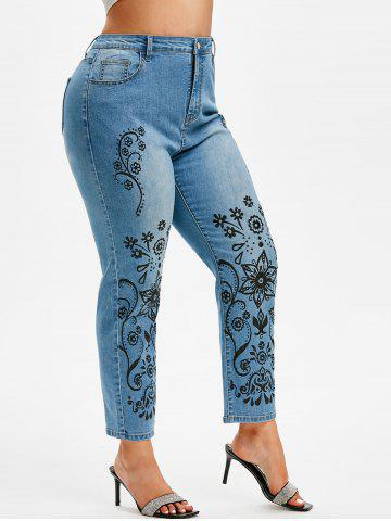 Plus Size Faded Tribal Floral Print Jeans - LIGHT BLUE - 3X